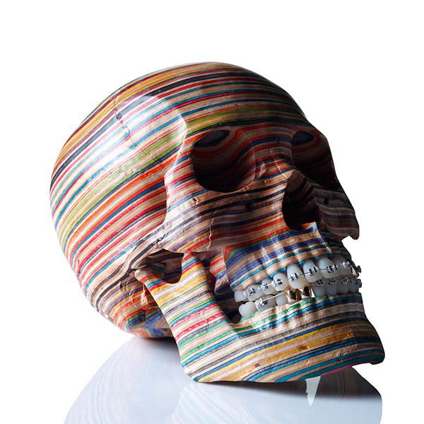 Haroshi Skull Artwork Recycled Skateboards